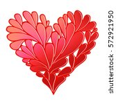 stylized floral red heart icon. ... | Shutterstock . vector #572921950