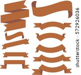 brown banner ribbon set vector... | Shutterstock .eps vector #572926036