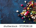 delicious chocolate easter eggs ... | Shutterstock . vector #572928118