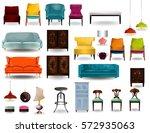 big set furniture 3d vector... | Shutterstock .eps vector #572935063