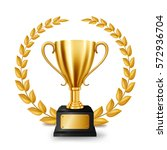 realistic golden trophy with... | Shutterstock . vector #572936704