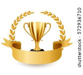 realistic golden trophy with... | Shutterstock . vector #572936710