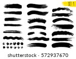 set of black paint  ink brush... | Shutterstock .eps vector #572937670