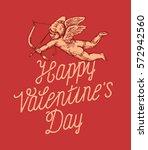 happy valentines day vintage... | Shutterstock .eps vector #572942560