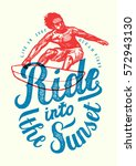ride into the sunset realistic... | Shutterstock .eps vector #572943130