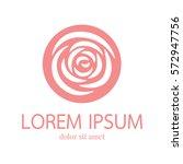 Stock vector rose vector logo design template minimal petal beauty icon salon floral abstract sign vector 572947756