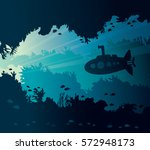 underwater seascape with... | Shutterstock .eps vector #572948173
