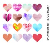 set of watercolor hearts of... | Shutterstock . vector #572950354