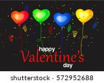 colorful heart balloons on... | Shutterstock .eps vector #572952688