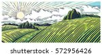 rural landscape with hills and... | Shutterstock .eps vector #572956426