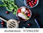 cranberry and rosemary cocktail ... | Shutterstock . vector #572961250