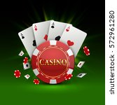 chips and cards casino banner.... | Shutterstock .eps vector #572961280