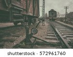 vintage coach stands on the... | Shutterstock . vector #572961760