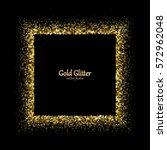 Gold Glitter Frame. Golden...