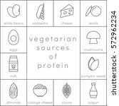 vegetarian sources of protein ... | Shutterstock .eps vector #572962234