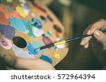 Artist Painting With Acrylic...
