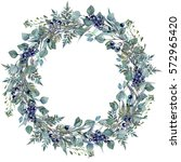 watercolor foliage wreath made... | Shutterstock . vector #572965420