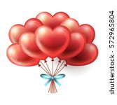 red heart balloons flying with... | Shutterstock .eps vector #572965804