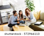 female real estate agent offer... | Shutterstock . vector #572966113