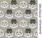 seamless pattern with owl in a... | Shutterstock .eps vector #572967280