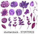 Watercolor Purple Flowers Set...