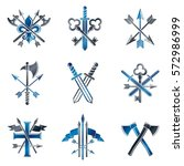 vintage weapon emblems set.... | Shutterstock .eps vector #572986999