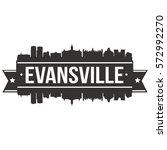Evansville Skyline Stamp Silhouette City Vector Design Art