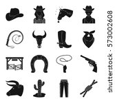 rodeo set icons in monochrome... | Shutterstock .eps vector #573002608