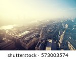 aerial london view on a foggy... | Shutterstock . vector #573003574
