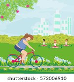 overweight woman ride on bike   Shutterstock .eps vector #573006910
