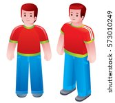a man in a red shirt and blue... | Shutterstock .eps vector #573010249