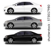 realistic car. sedan. set | Shutterstock .eps vector #573017980