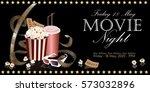 popcorn box with film reel ...   Shutterstock .eps vector #573032896