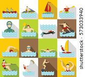 water sport icons set. flat... | Shutterstock . vector #573033940