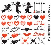 love theme set  cupids  amours  ... | Shutterstock . vector #573035380
