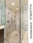 luxury shower w glass shower... | Shutterstock . vector #573037774