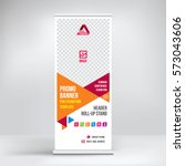 promo banner roll up design ... | Shutterstock .eps vector #573043606