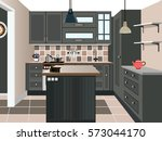 kitchen design  kitchen icon... | Shutterstock .eps vector #573044170