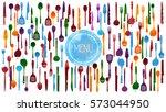 restaurant and kitchen dishware ... | Shutterstock .eps vector #573044950