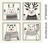 cute cartoon animals. template...   Shutterstock .eps vector #573046030