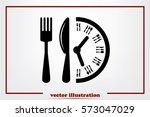 fork knife clock icon vector...   Shutterstock .eps vector #573047029