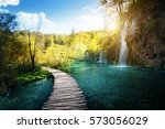 waterfall in forest   plitvice  ... | Shutterstock . vector #573056029