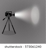 old style movie camera flat... | Shutterstock .eps vector #573061240