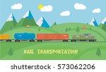 rail transportation on summer... | Shutterstock .eps vector #573062206