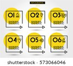 yellow linear square timeline... | Shutterstock .eps vector #573066046