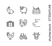 thin line icons set about farm. ... | Shutterstock .eps vector #573069148