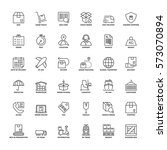 outline icons set. flat symbols ... | Shutterstock .eps vector #573070894