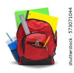 Small photo of Red Backpack with School Supplies Isolated on White Background.
