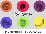 colorful fruits icons in... | Shutterstock .eps vector #573071428