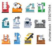 machines for production icons... | Shutterstock .eps vector #573075454